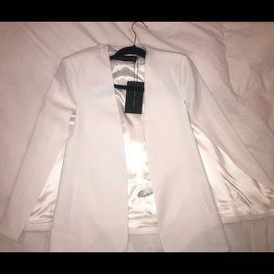 ZARA white cape blazer